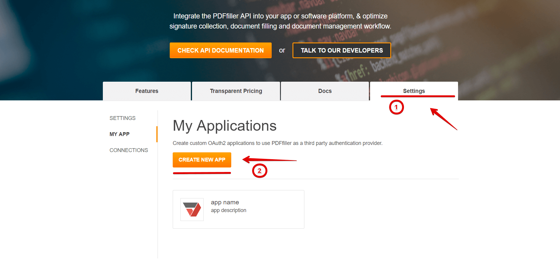 Pdffiller api apiary fill the form and click create application button malvernweather Images