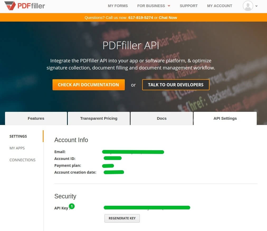 Pdffiller api apiary the simplest way of getting the api key for a registered user is to click on the api settings tab on the pdffiller developers page malvernweather Images