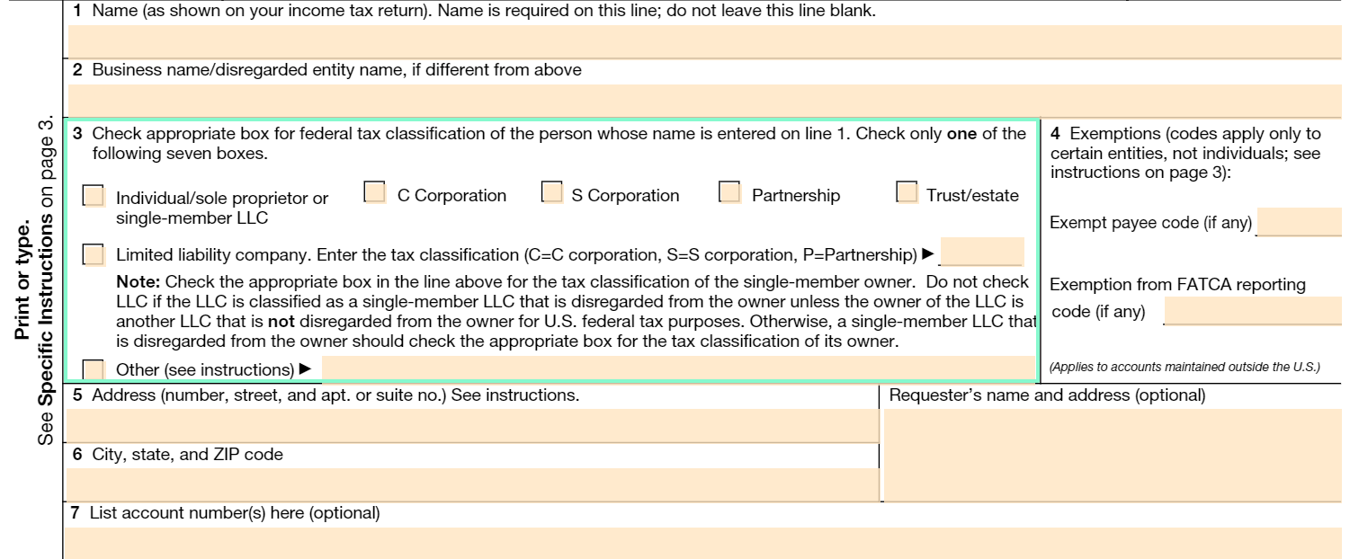 w-9 tax form box 3
