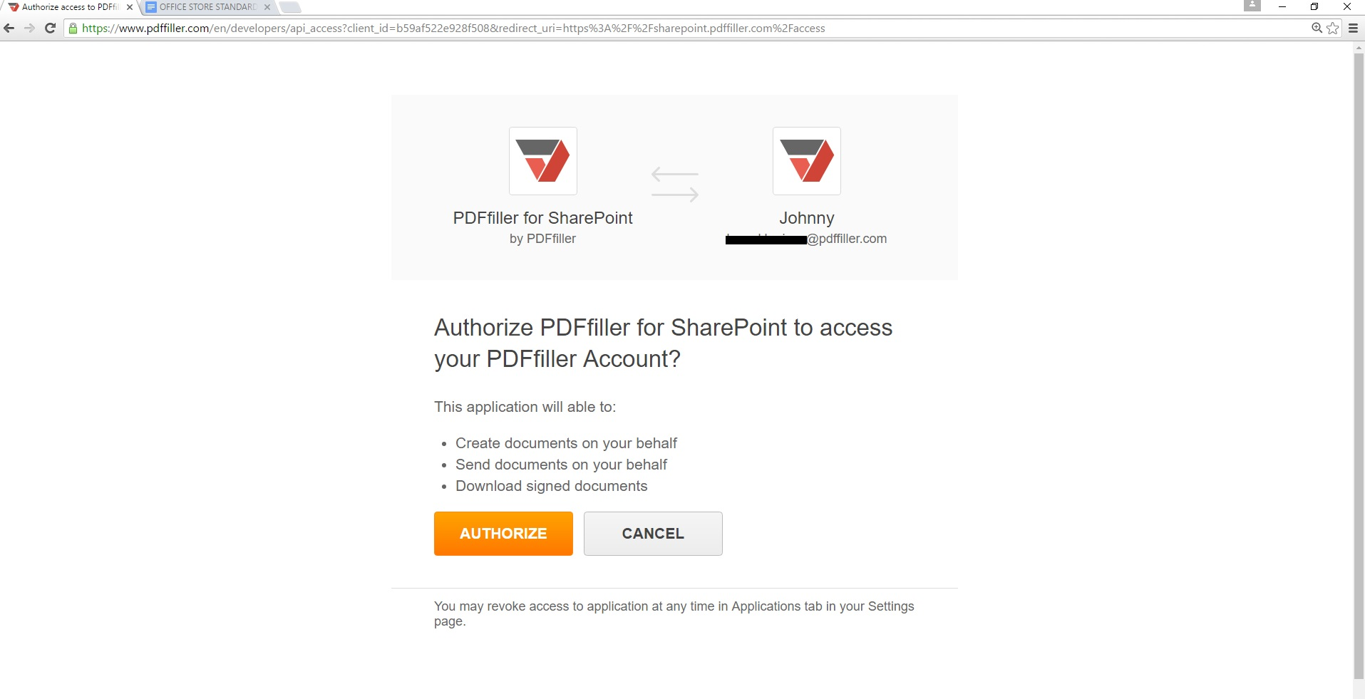 PDFfiller integration with SharePoint account