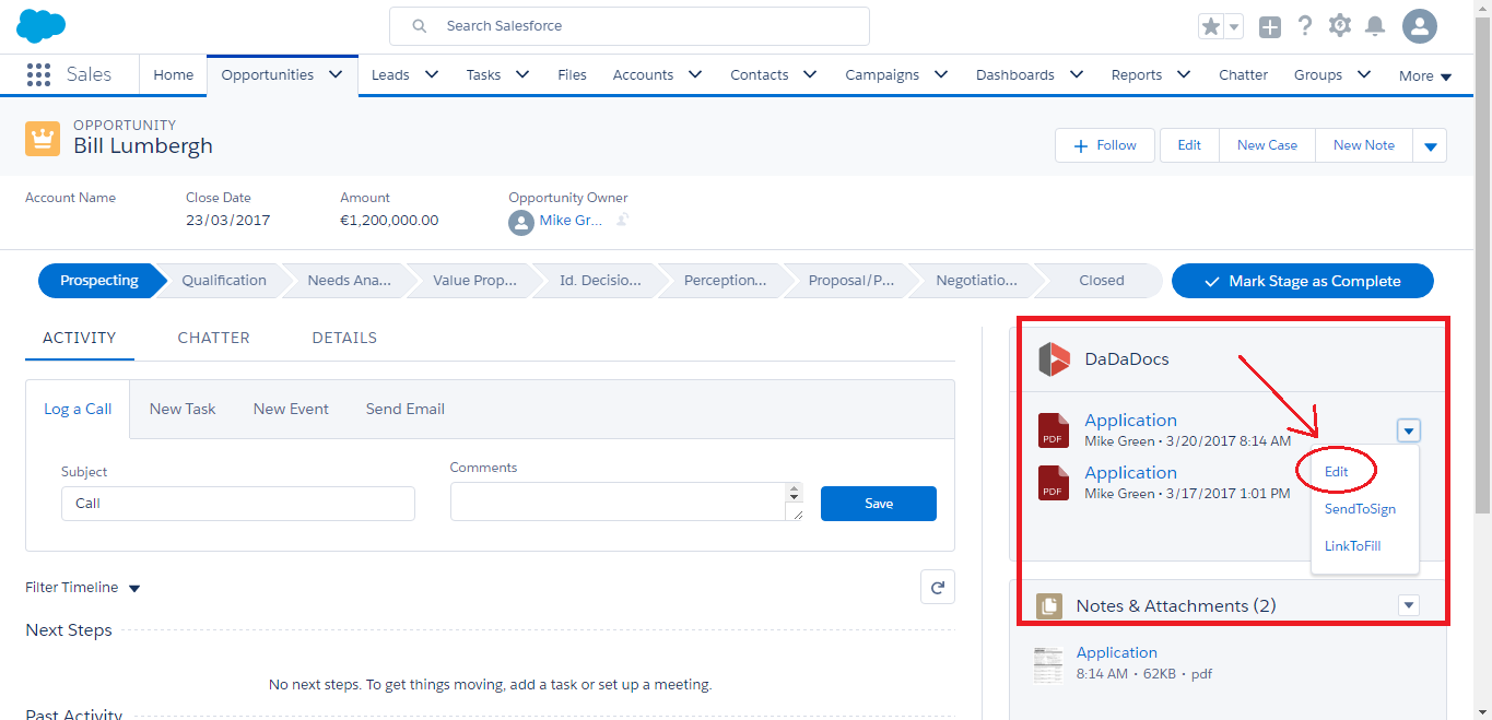 DaDaDocs integration with Salesforce