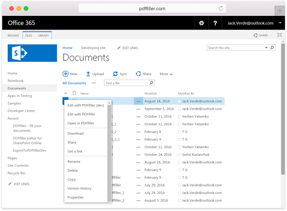 Integrate PDFfiller's DaDaDocs with SharePoint